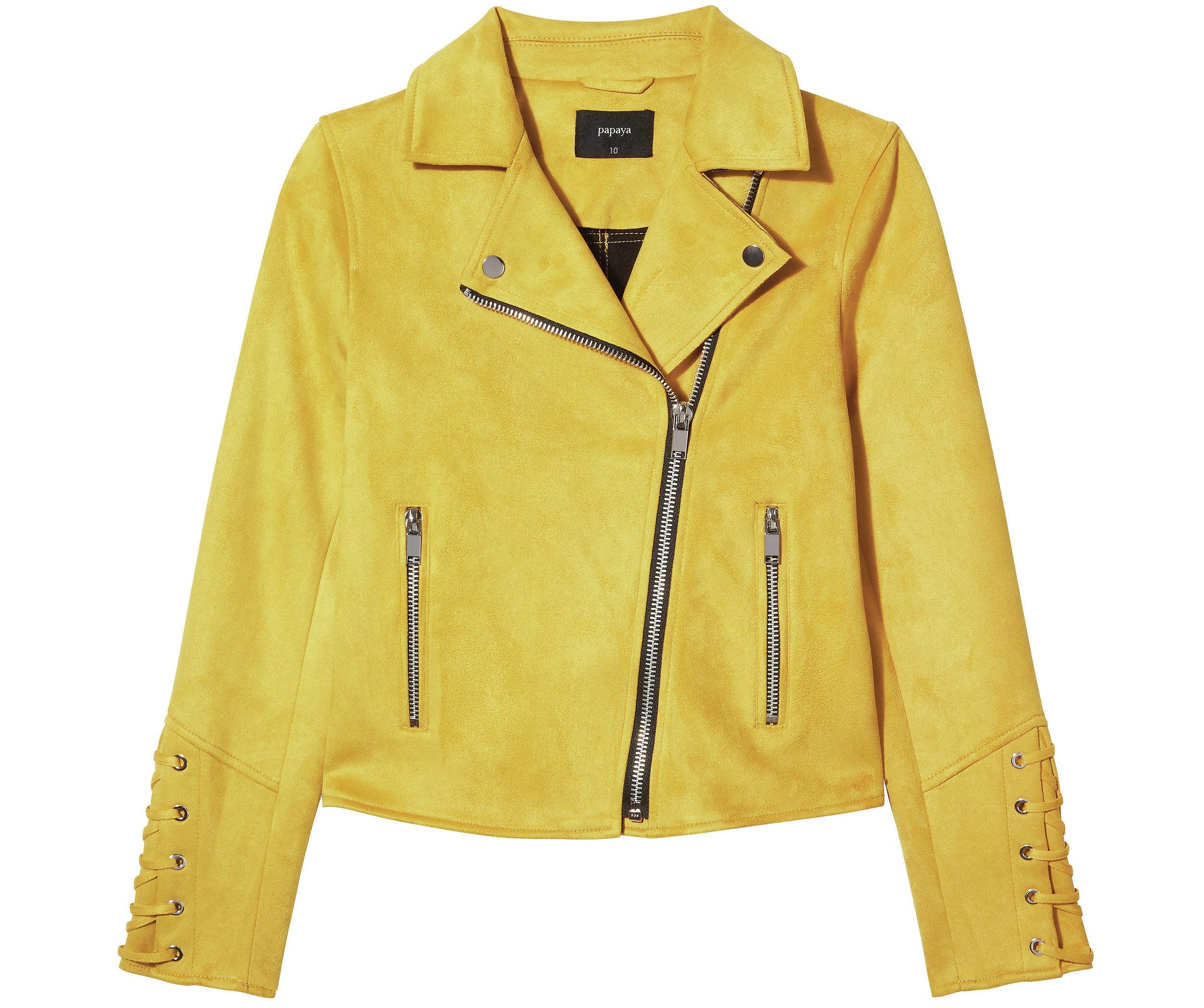 7. Matalan Mustard Suedette Biker Jacket