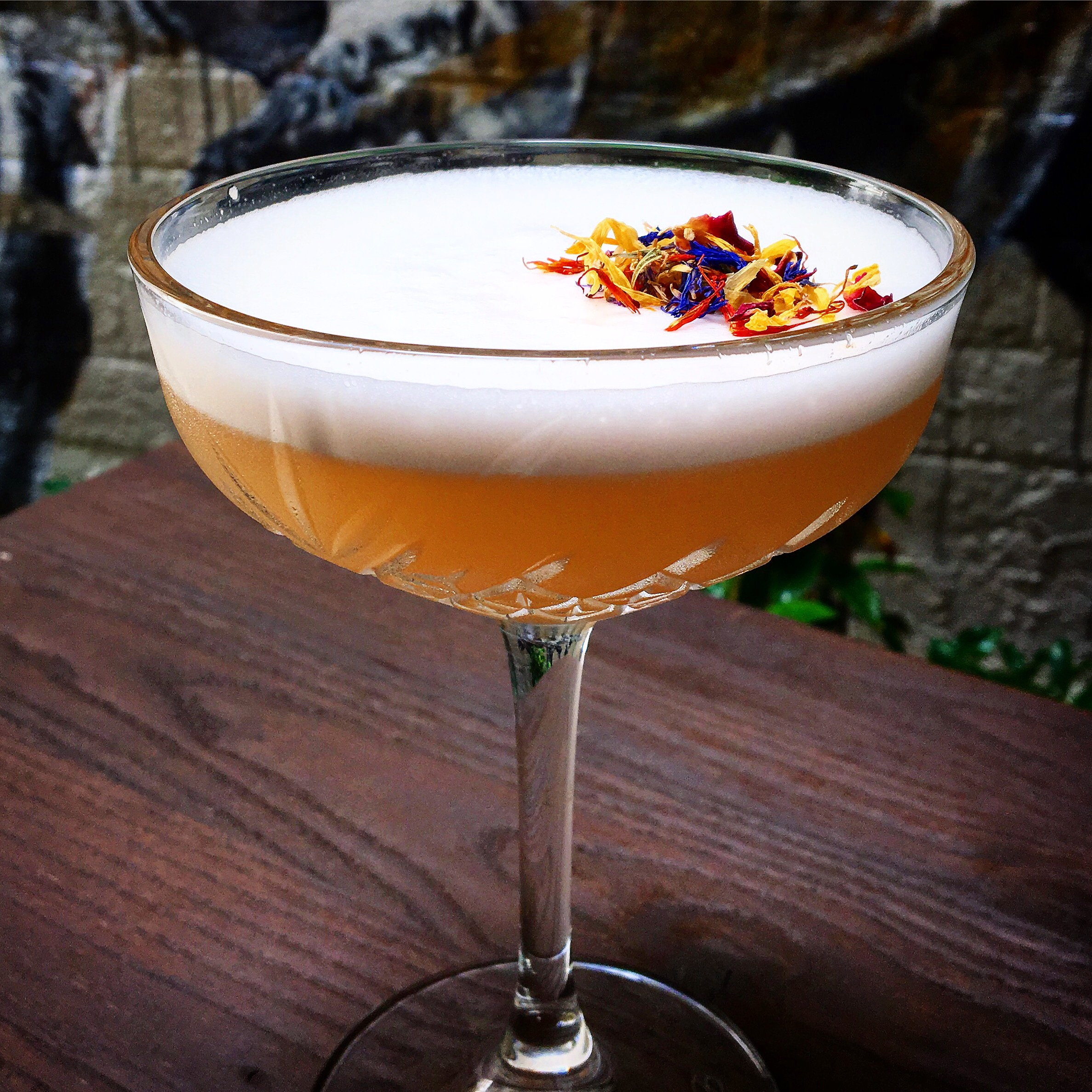 Musk Martini    Wyborowa Vodka, St Germain, Lychee Liqueur, pink grapefruit, lime, Agent 80 ginger syrup, egg white, dehydrated flowers
