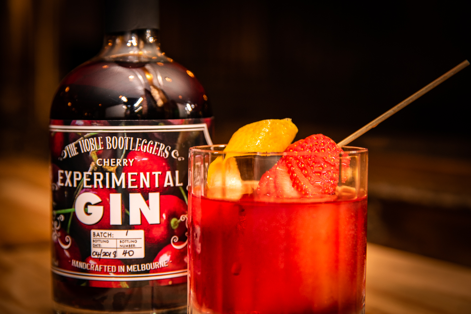 Cherry Negroni - 30mls Noble Bootleggers Cherry Gin20mls Campari20mls Lillet Rose15mls Antica FormulaStrawberry & lemon peel garnishAdd all ingredients to a mixing glass, add ice and stir until the glass becomes frosted. Pour over a large ice cube in a double rocks glass. Garnish with strawberry and lemon peel twist.