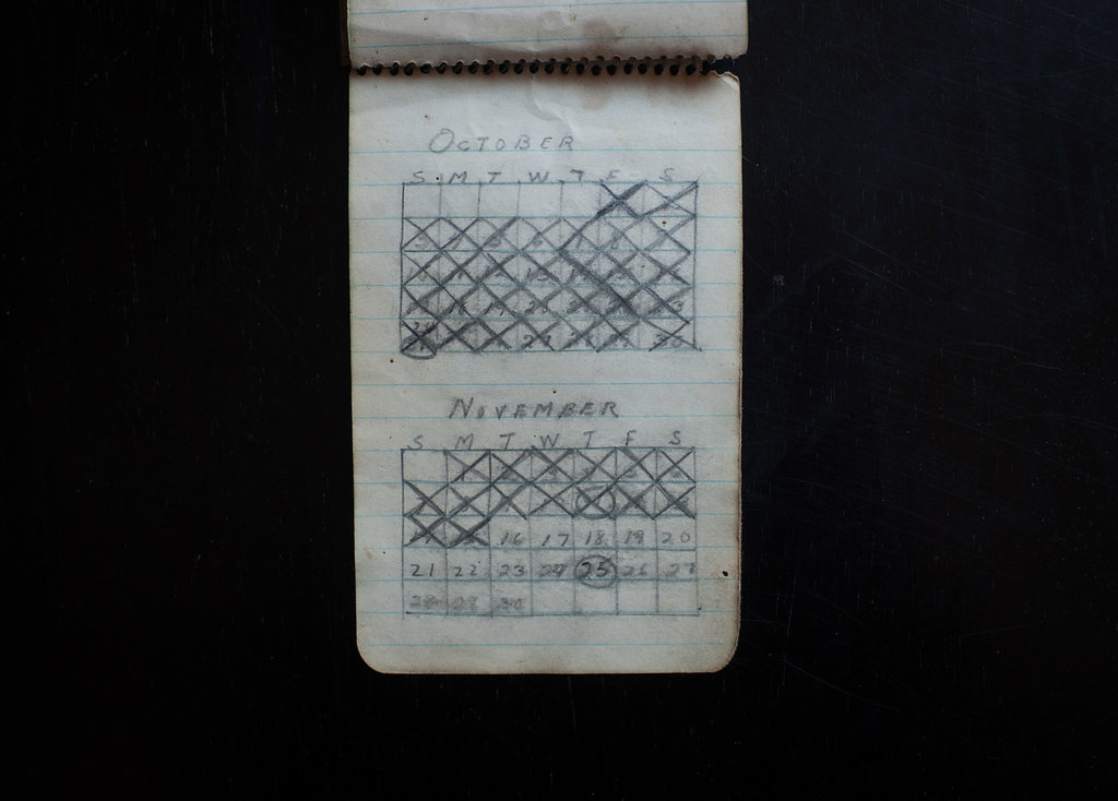Anita's grandfather, Charlotte's father, Louis, fought in Tunisia for the U.S. during World War II, but was captured by Rommel and spent 27 months in a German prison camp. This calendar he kept in the camp runs from April to December 1943, then stops—Charlotte doesn't know why. Louis circled the date of Thanksgiving. Charlotte was born exactly two years later on November 25. When she inherited the notebook, it gave her the chills to see her birthday circled.