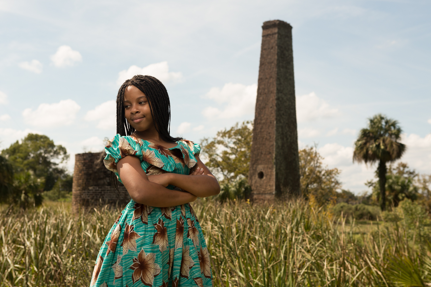 Tiffany Young's youngest daughter, Trinity, a descendant of the Butler Island slaves, seen here at Butler Plantation, is carrying on the traditions of her mother and the Gullah Geechee people. She is already a Geechee ring shouter, performing traditional songs and dances based in West African religious rituals—the oldest surviving African-American performing arts.