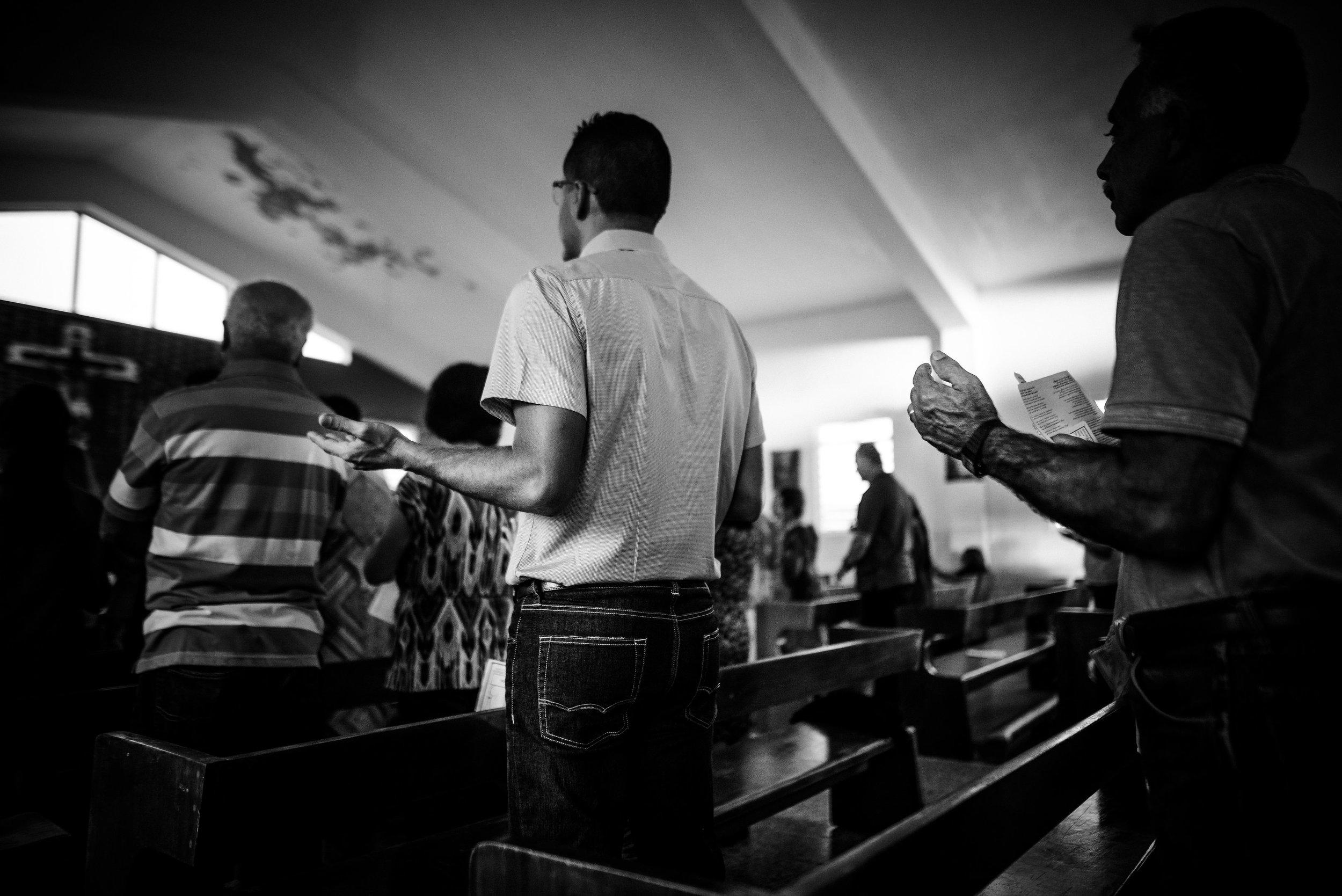 The Hernandez Family at Mass. Photo: Aniya Emtage Legnaro