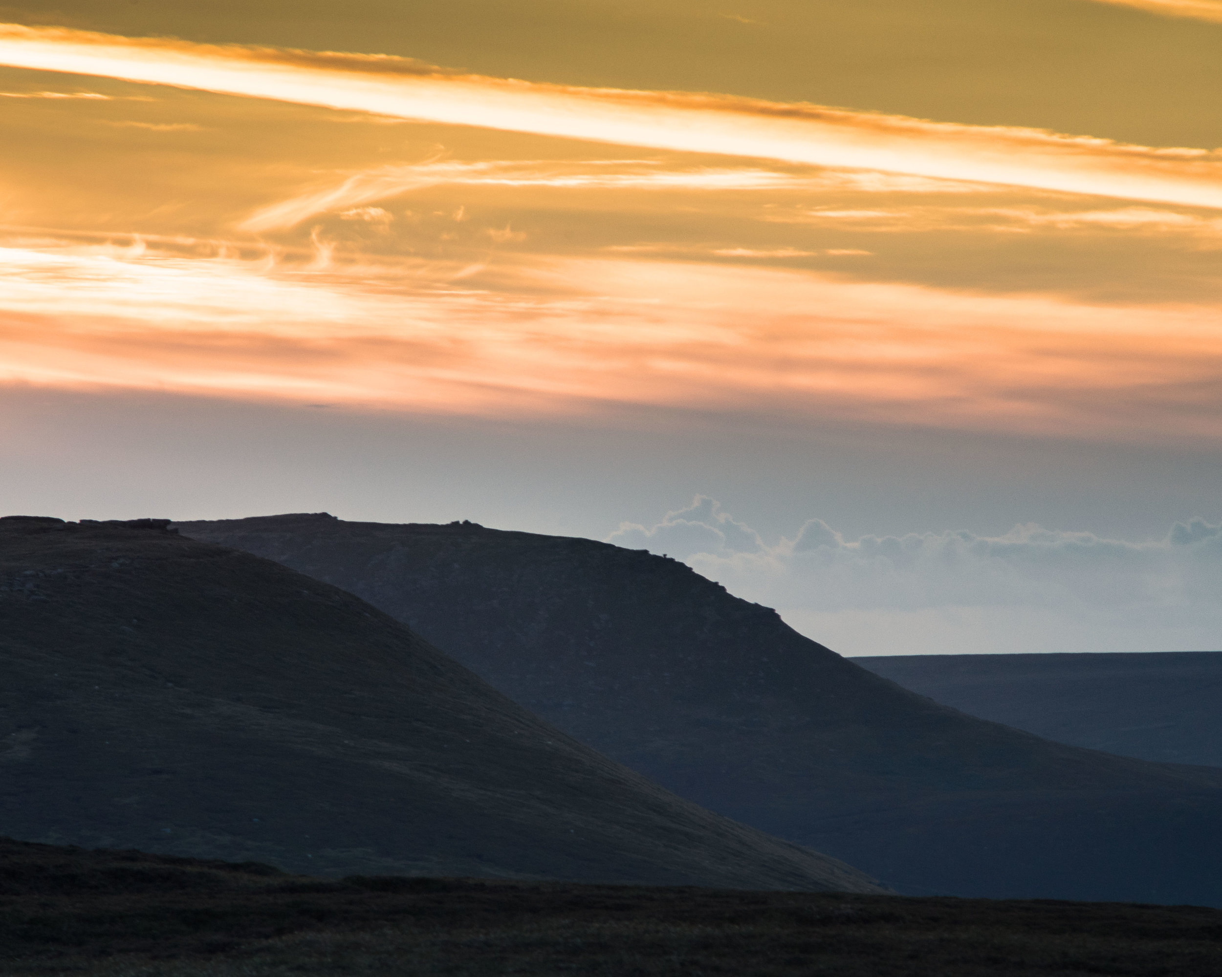 It wasn't the sunset we had hoped for in Derbyshire on Blackden edge but at least it gave me chance to see the layering effect of the telephoto lens. Shot at 190mm.