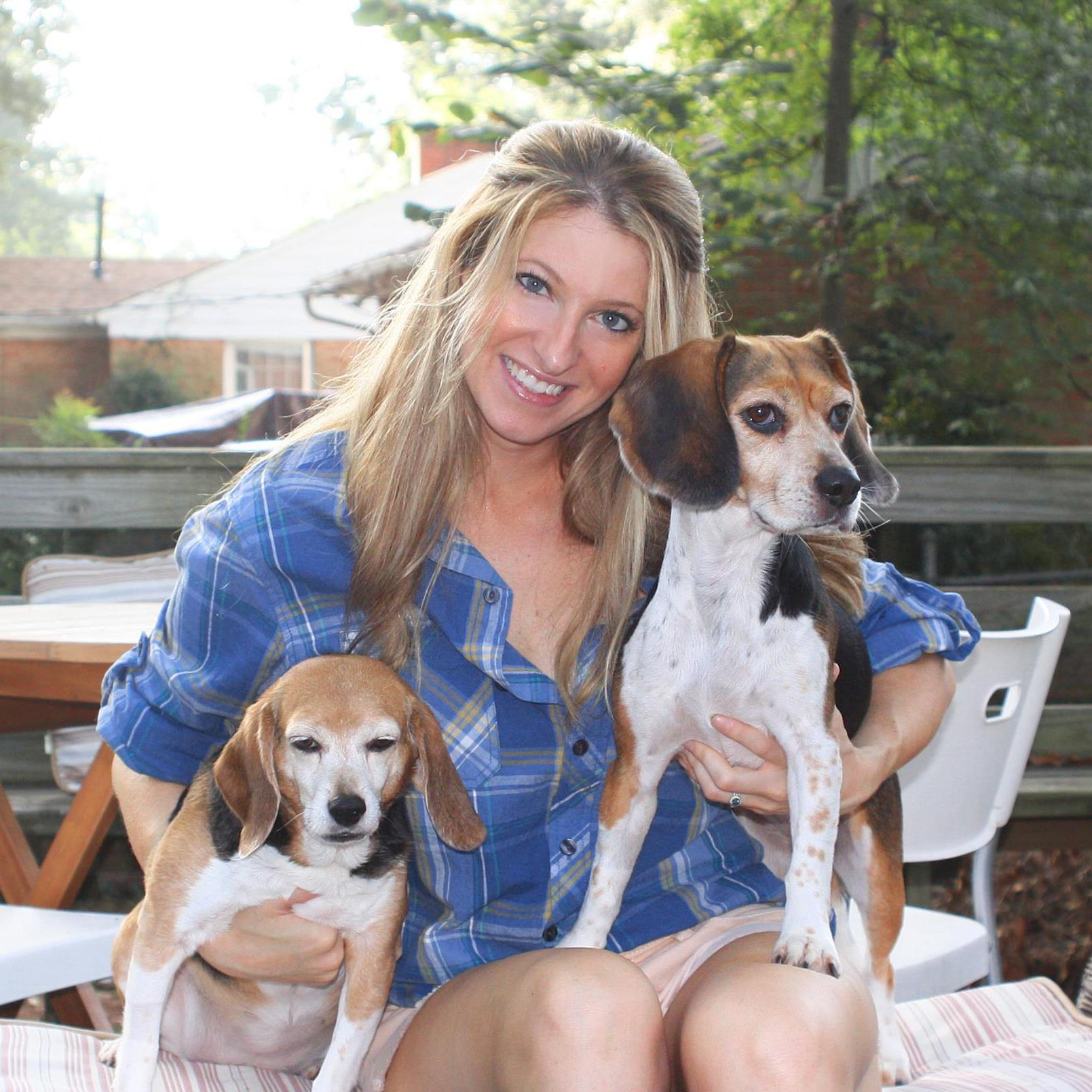 Me with Meadow and Lucy, my two sweet beagle girls who have since crossed over the Rainbow Bridge