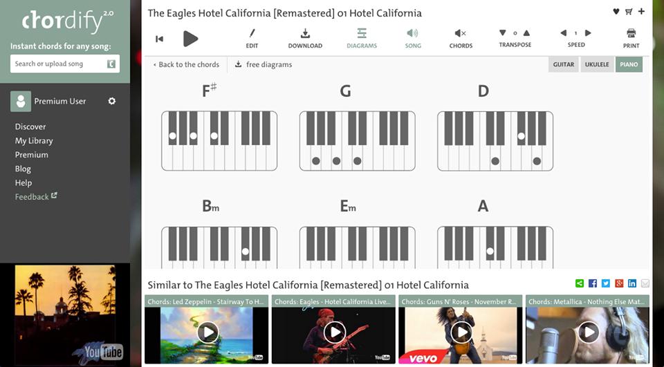 Chordify piano