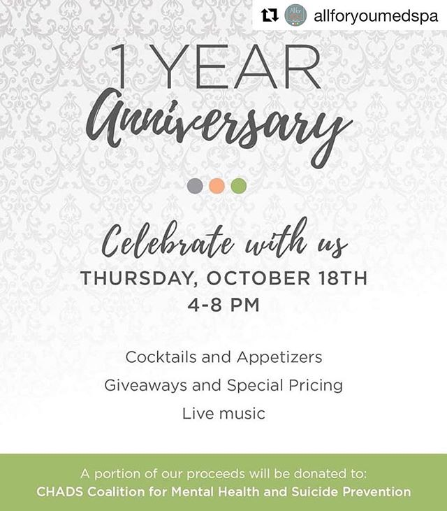 Self care while supporting a cause ❤️ #Repost @allforyoumedspa with @get_repost #stl #spa #treatyourself #celebrate #oneyear #mentalhealth #selfcare #thankyou ・・・ We hope to see you ALL there! Come join us as we celebrate ONE YEAR! 🧡🍾🎂 #AllforYOU #YOUareWorthIt #Celebrate #OneYear #Botox #Juvederm #SkinMedica #HydraFacial #CHADSCoalition