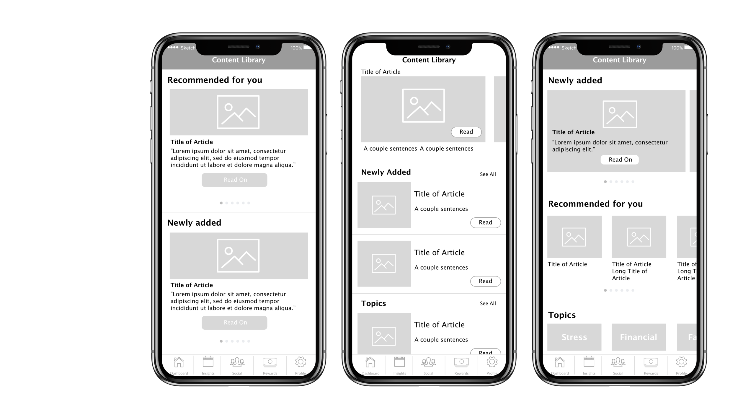 Context - I led a redesign of our Content Library, which was to share health and wellness articles to users at a life insurance tech start up (specific name available upon request). Extending upon Version 1 I made wireframes for both web-app and mobile.