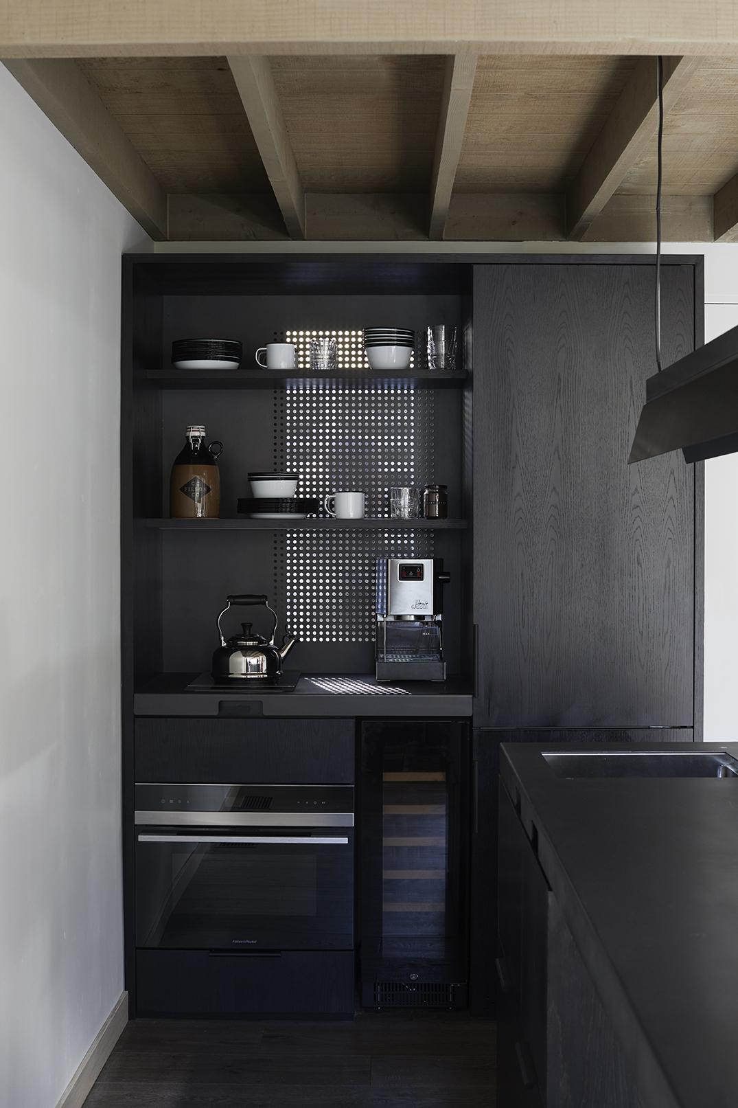 The kitchen in the Cedar Cabin