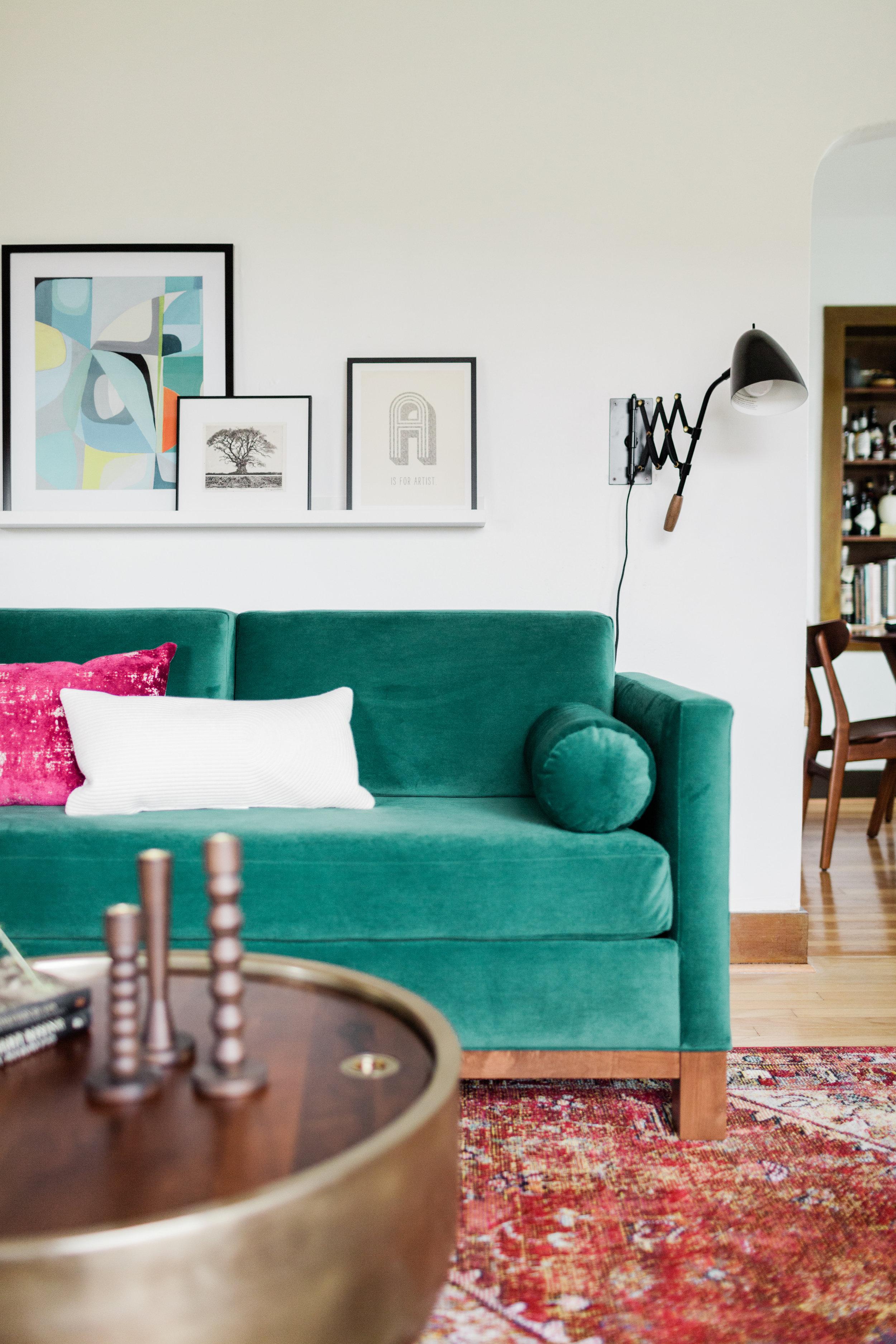 Colorful Vintage Modern Living Room — Harper Rae Design Co