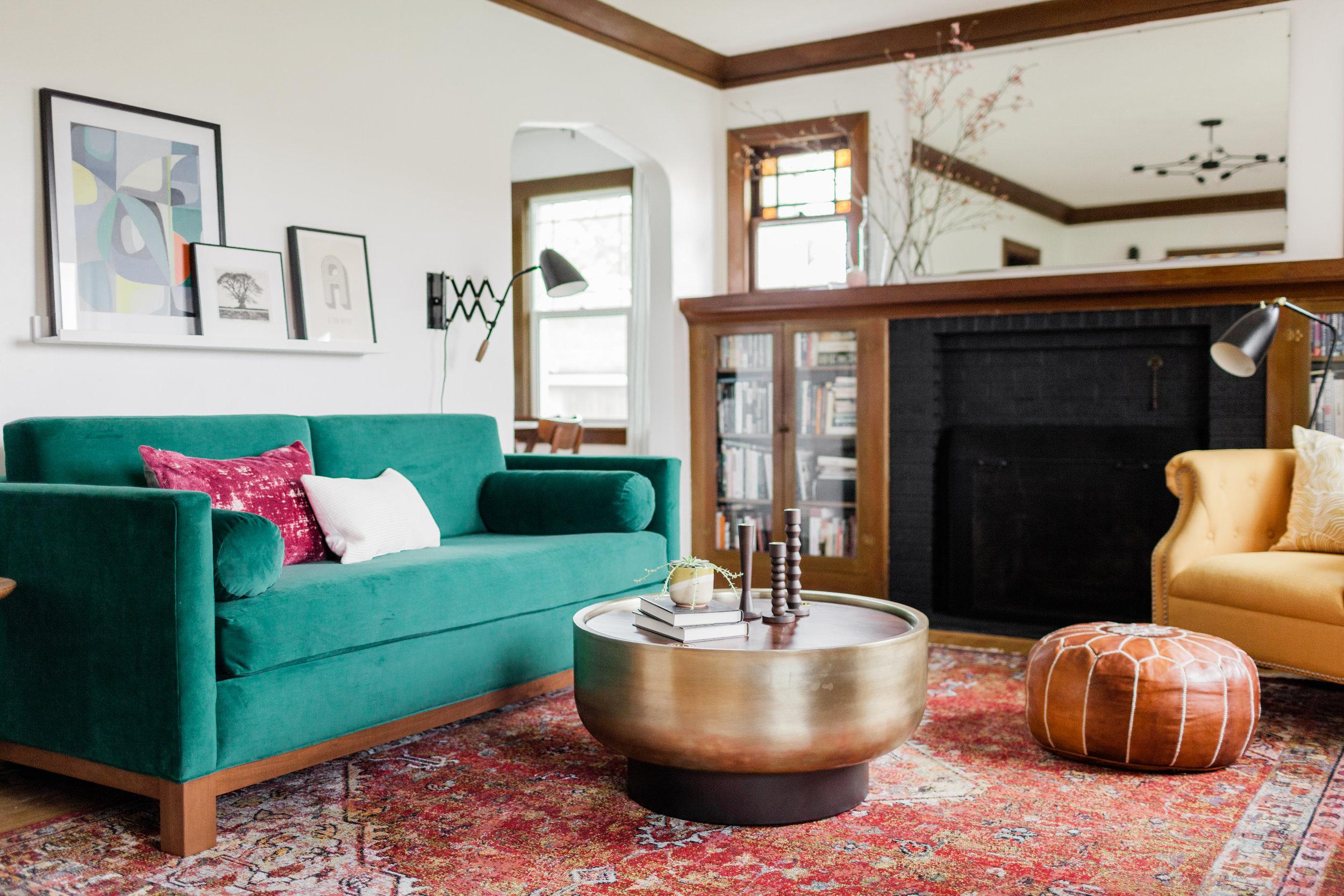 Colorful Vintage Modern Living Room by Harper Rae Design Co