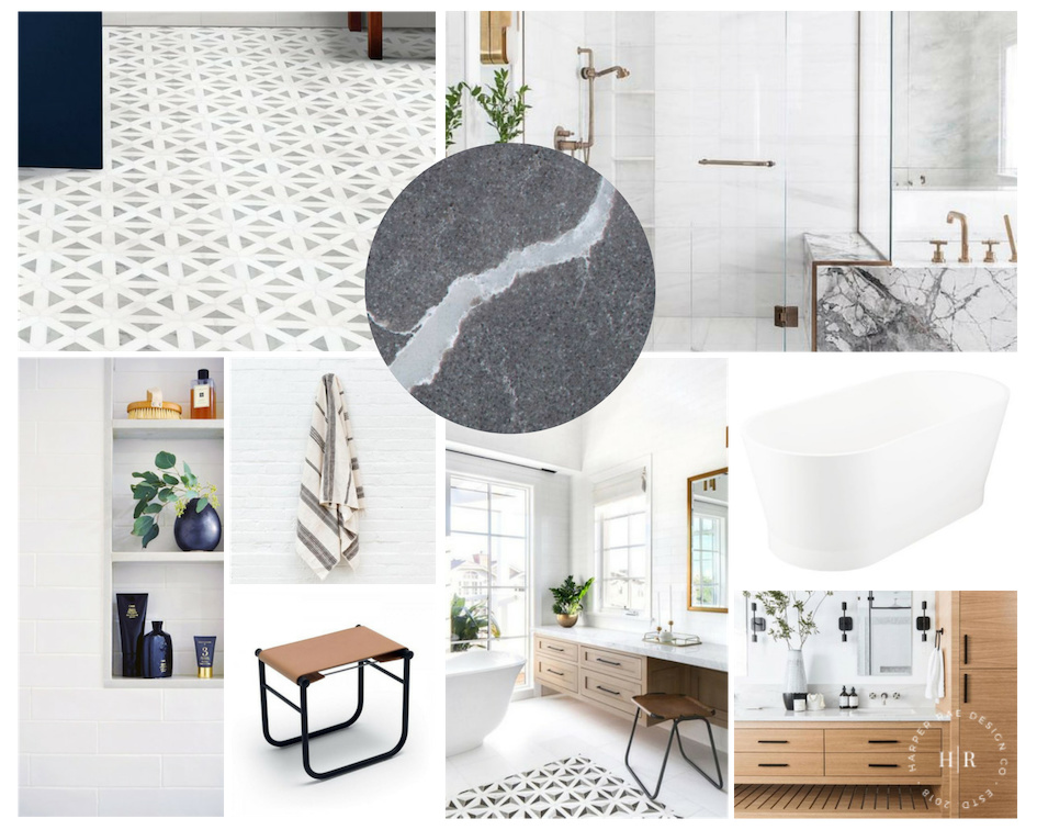 Mixed Modern Master Bath Remodel Mood Board by Harper Rae Design Co