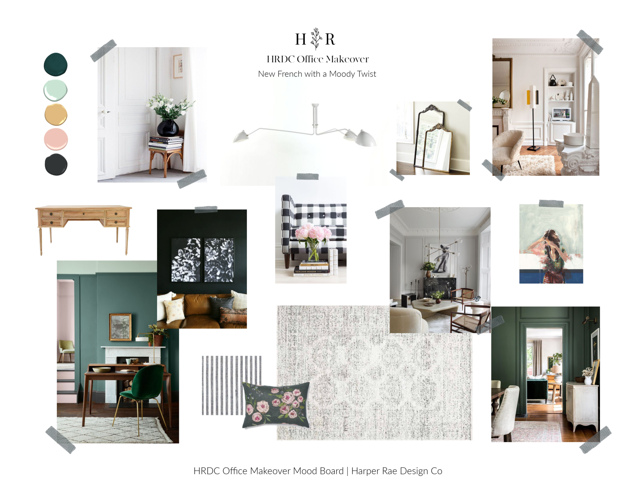 New French Office Makeover Mood Board by Harper Rae Design Co