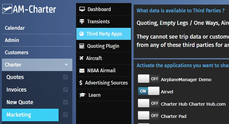 Login > Charter > Marketing > Third Party Apps >    Click Airvel Selector