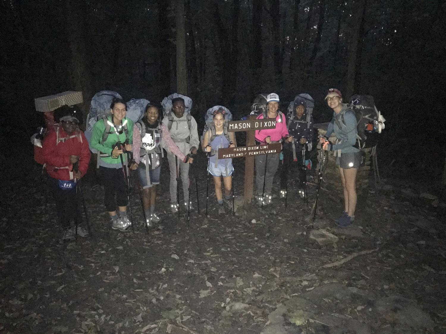 Our first stop of the hike was the Mason Dixon Line. It was just at dusk so we used that opportunity to pull the headlamps out and get ready for a five mile night hike.