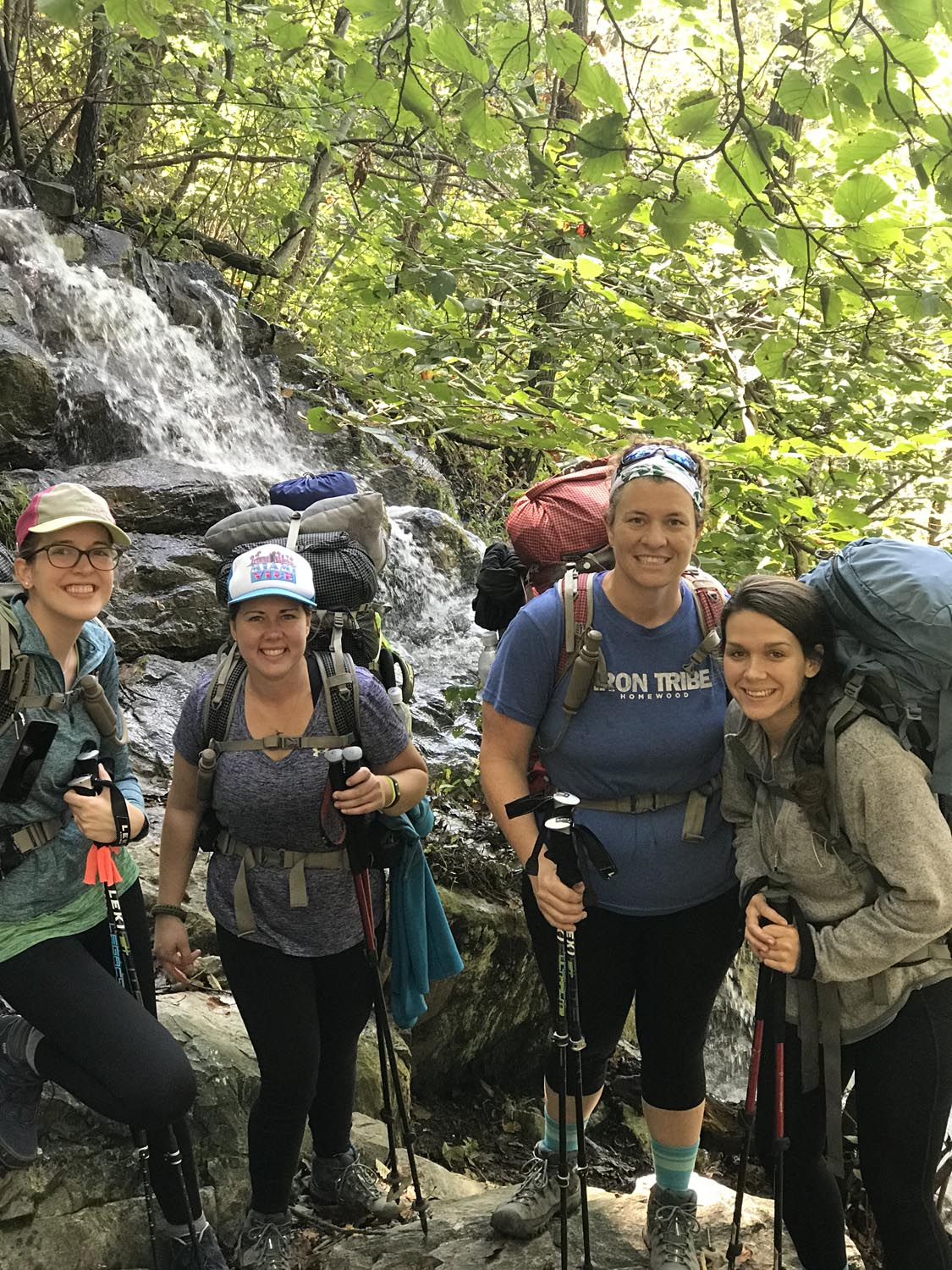 """Our fearless leaders at the first waterfall stop (from l to r): Lydia """"Cosmo"""" Larrivee, Amanda """"Wanda"""" McPhail, Molly """"The Mothership"""" Stone & Abby """"Neville"""" Letson."""