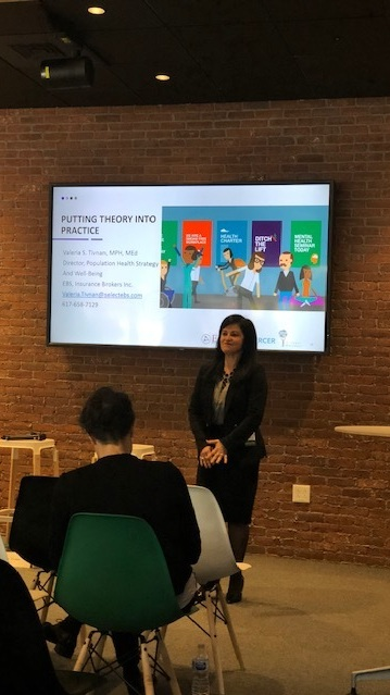 val speaking at massbio's Changing the wellness landscape at your workplace