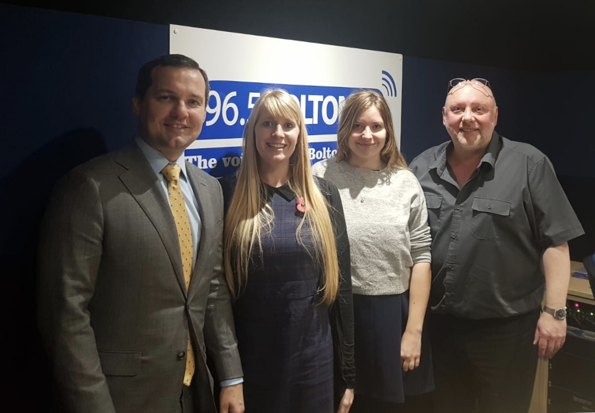 Left to right: Chris Green MP, Joy Helliwell, Harriet Andrews and Neil Wilkinson of Bolton FM