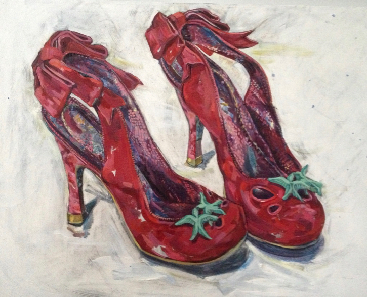 Red Shoes with Birds