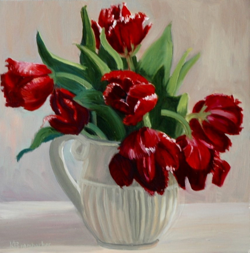 Red Tulips, 12in x 12in