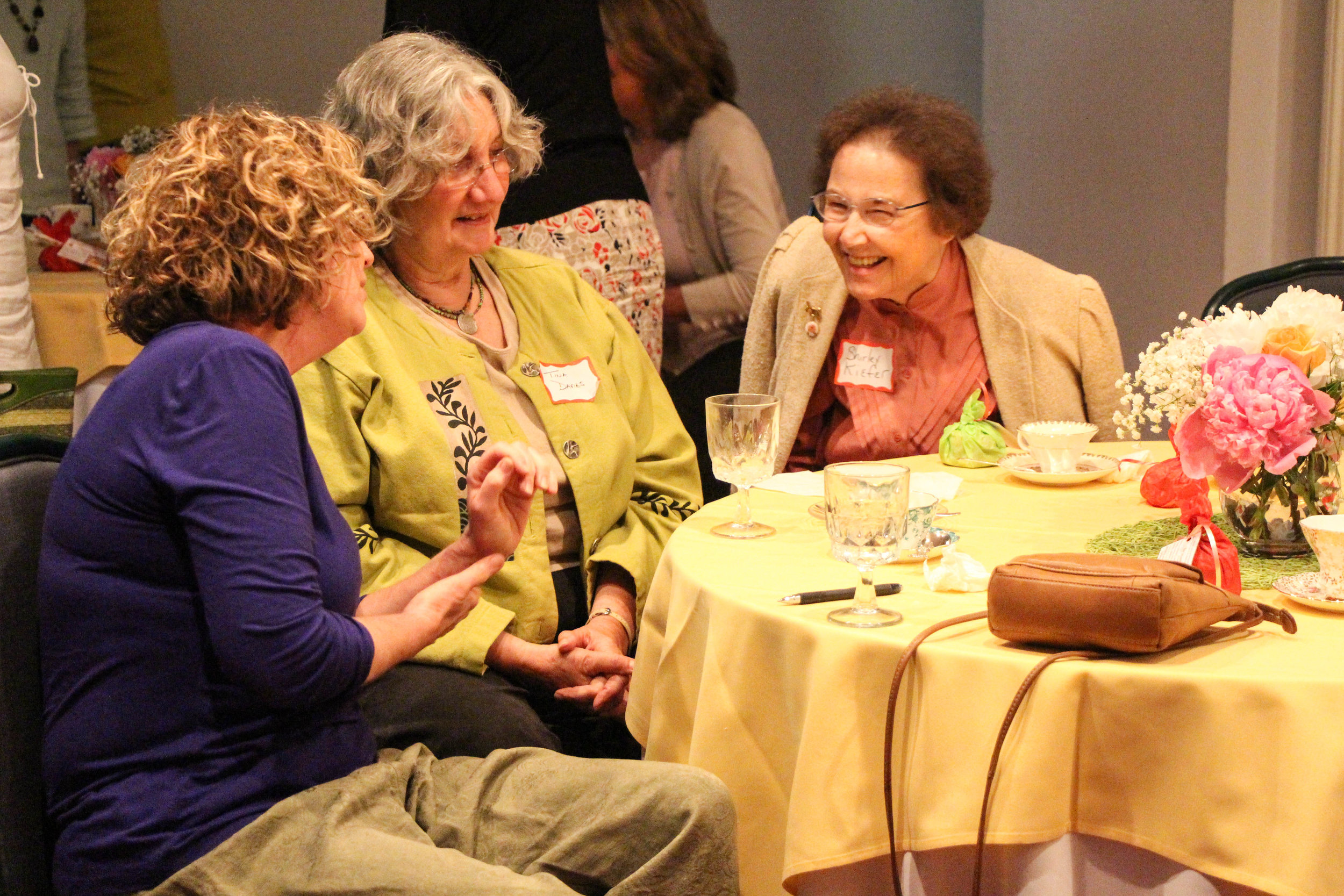 Three WSWNE members at a WSWNE Welsh Tea.