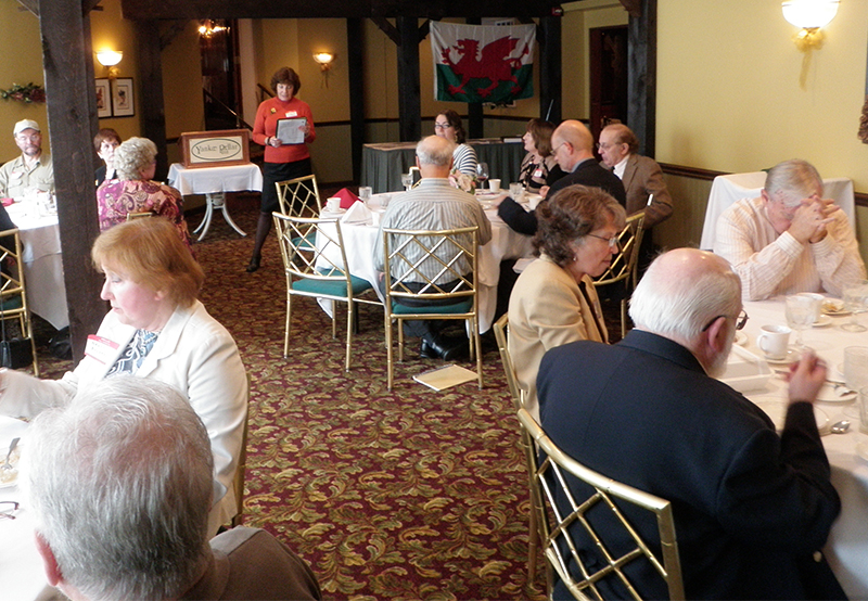 Magdalen Dowdwn recounting the history of the Yankee Pedlar Inn.