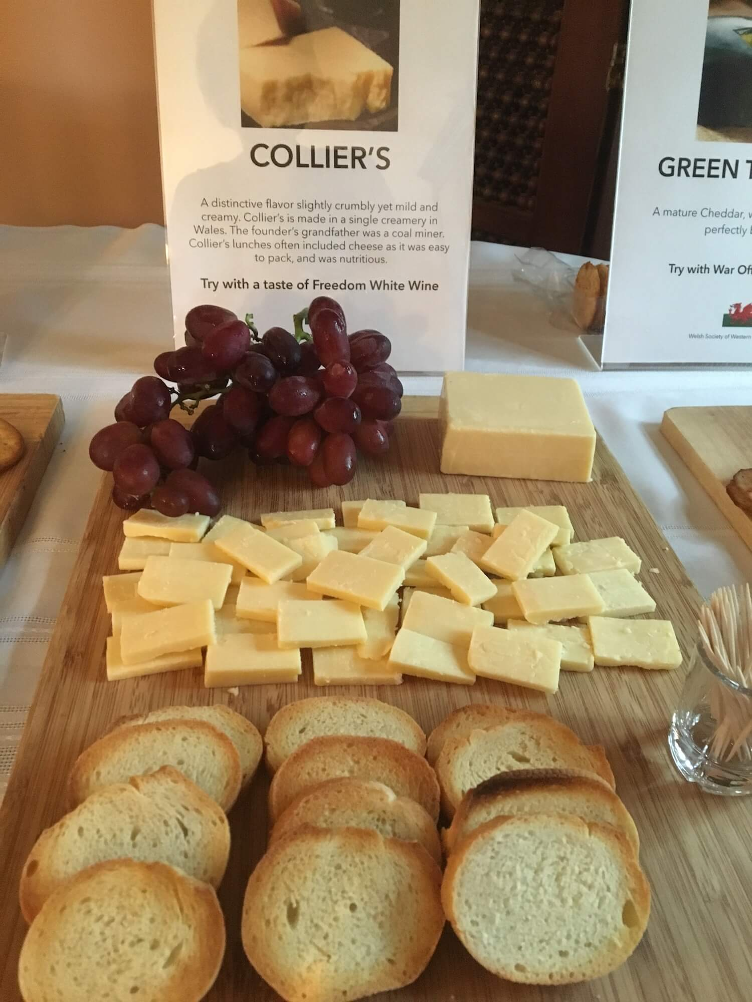 Colliers cheese with grape cluster, bread