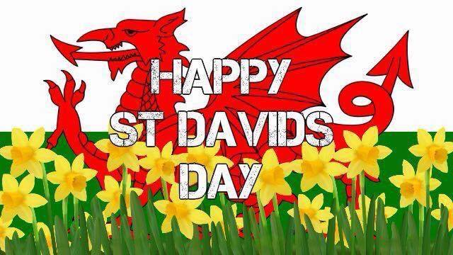 St. David's Day image, dragon and daffodils