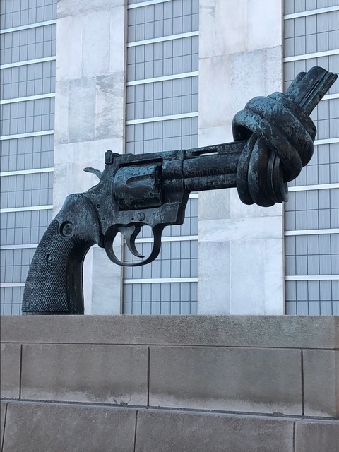 Peace statue outside the United Nations