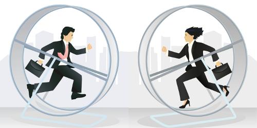 Un homme et une femme d'affaire, valises à la main, courent sans fin dans des roulettes pour hamster.