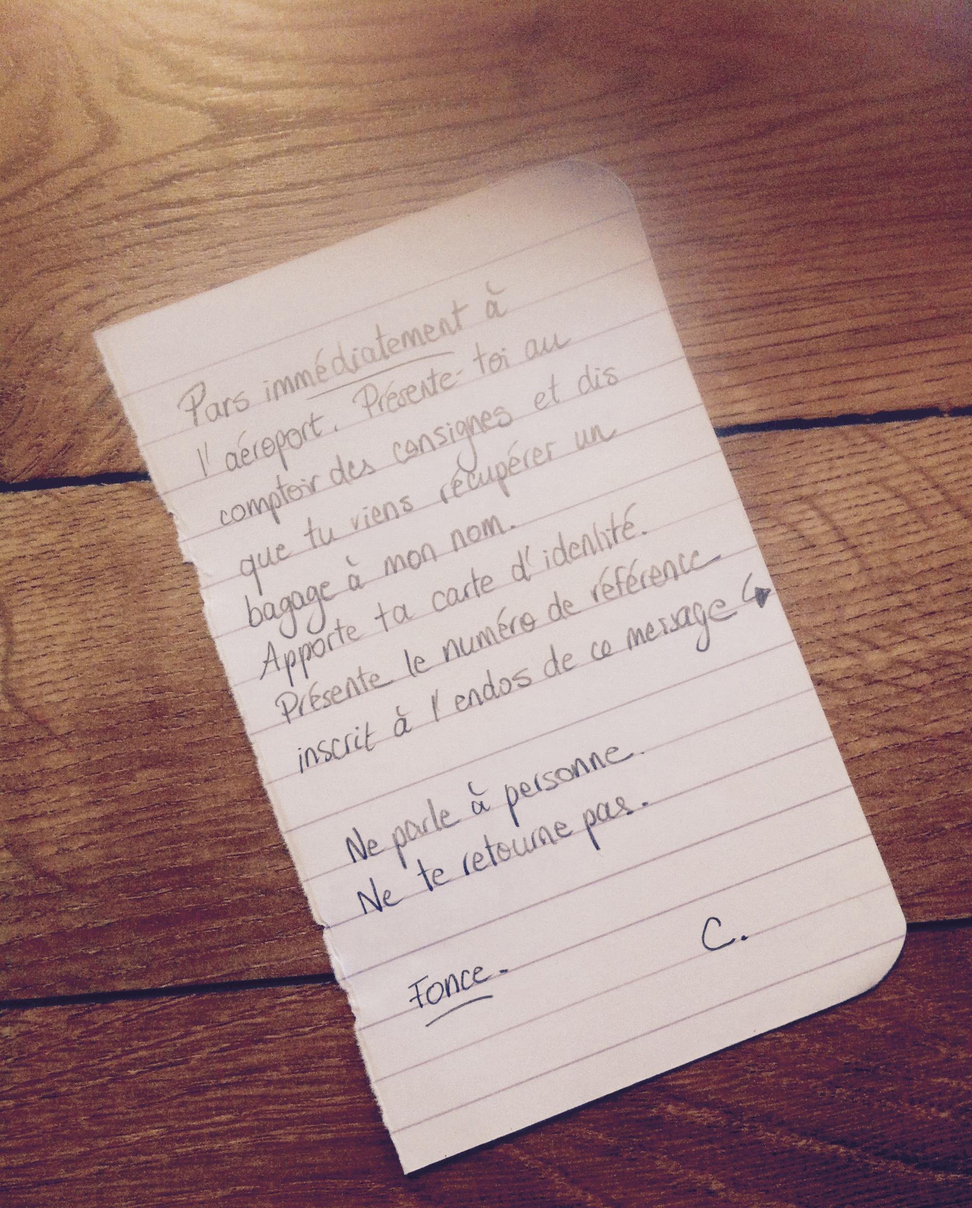 Note écrite à la main