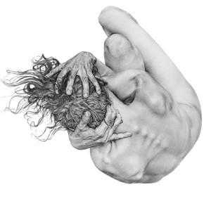 Dessin au crayon. Noir, gris et blanc. Un corps nu et recroquevillé en petite boule. Vue de haut. Les mains du personnage s'entremêlent dans ses cheveux. Sentiment de peur et de besoin de se protéger.