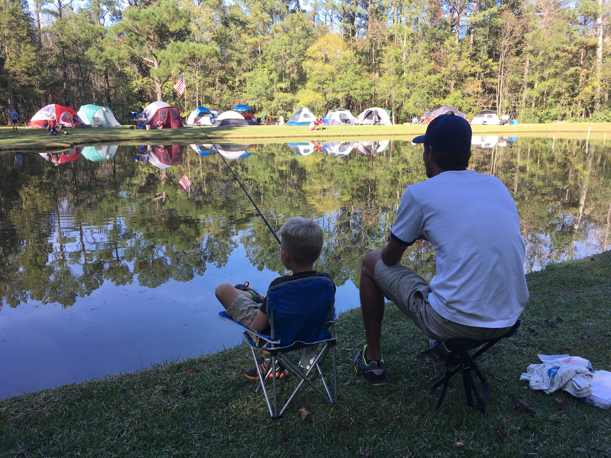 Father-SonCampout - Each fall we take a short trip to for a fun overnight with fathers and sons. We camp, fish, shoot, eat, play, and hopefully sleep. Click here for more details and to register.