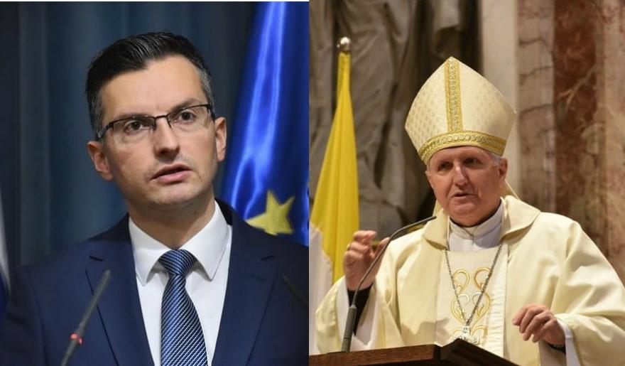 Premier Šarec in predsednik SŠK nadškof Zore (foto: siol in SŠK)