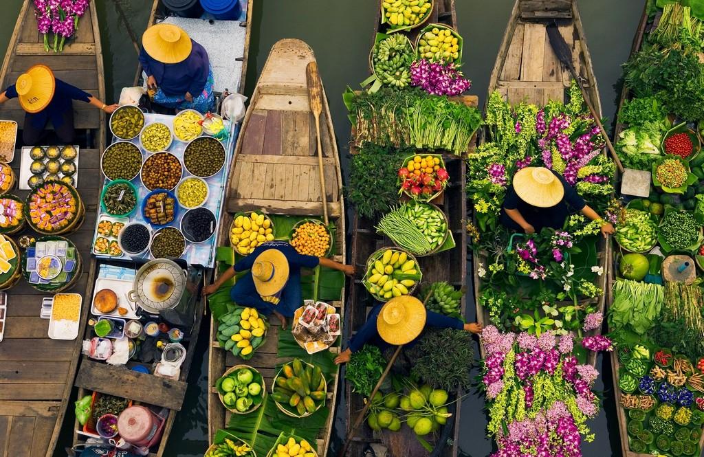 Vendors sell their wares at the Khlong Lat Mayom Floating Market on the outskirts of Bangkok.