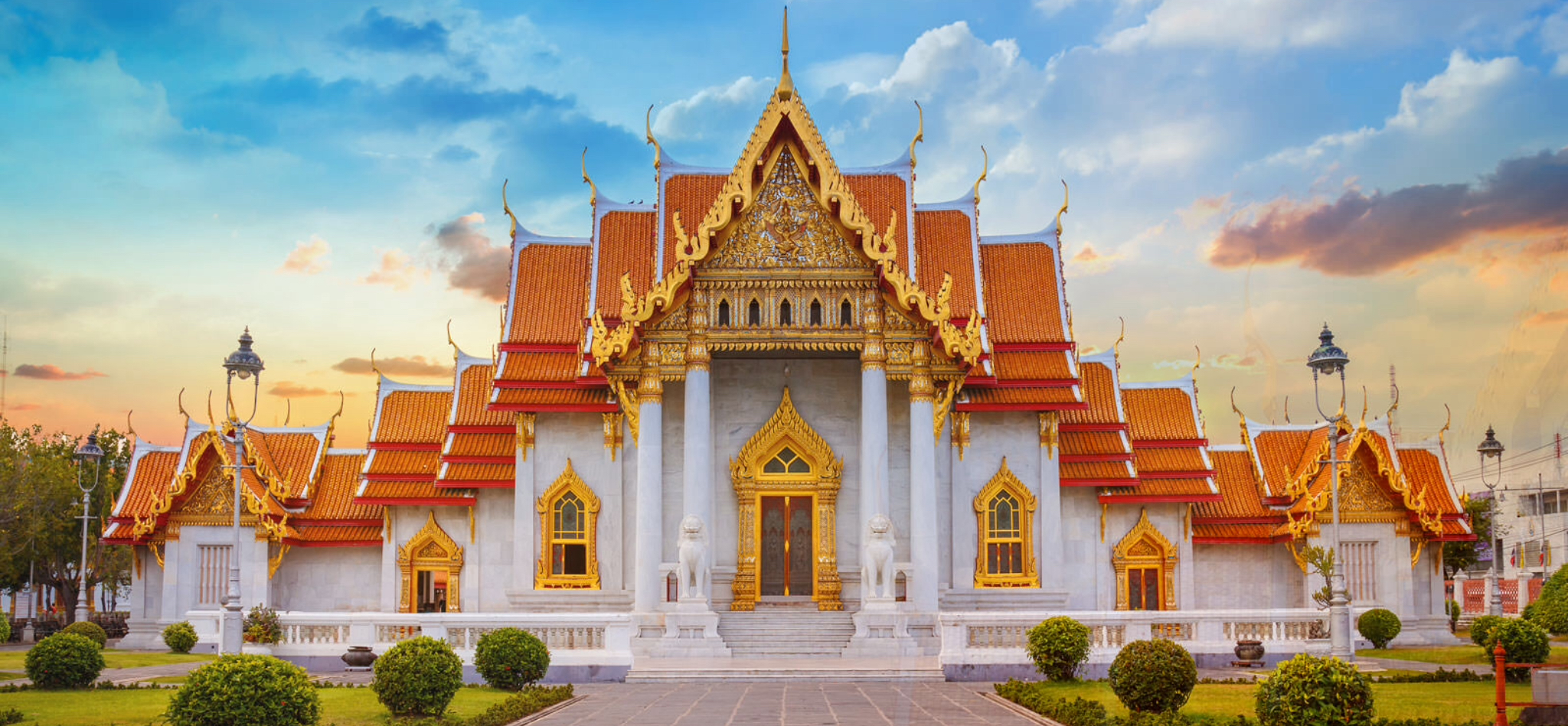 Wat Benchamabophit, also known as the marble temple, in the Dusit neighborhood in Bangkok.