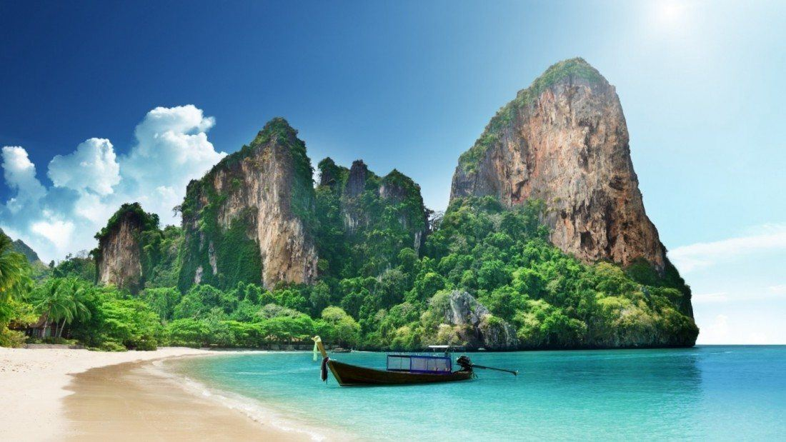 White sand beaches, lush greenery, staggering limestone cliffs, and the crystal clear turquoise waters of the Andaman Sea.