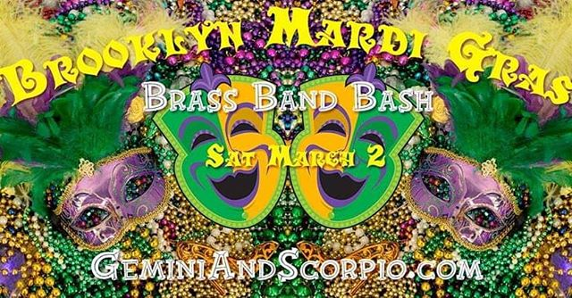 Gumbo, king cake, and brass, OH MY! We're so excited to join the Brass Band Bash at @gemini_scorpio's Mardi Gras party on Saturday, March 2. Join us! More info from the link in our bio. 🎉🎷📿🎺🎉