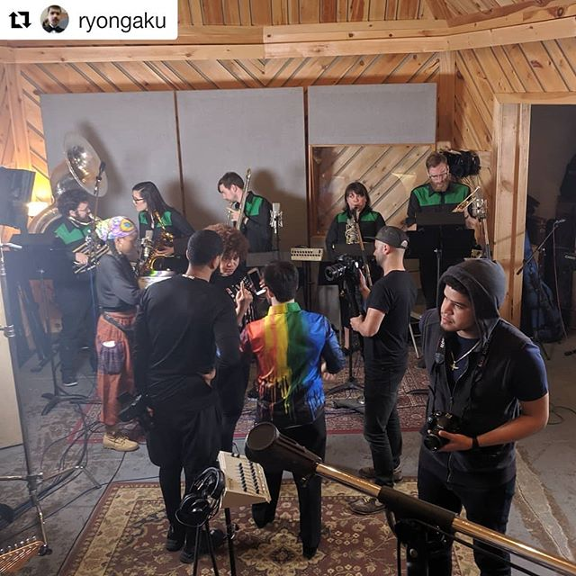 Great day in the studio with @anygamajazz. Thanks for having us! Repost @ryongaku #recordingsession #brassband #tuba #trombone #barisax #tenorsax #trumpet #jazz #nycmusic