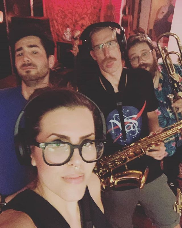 And we back, and we back, and we back. (Sort of.) Recording with @significant_looks last night. 📷: @anyacombsherhair  #brassband #brasssection #livehorns #recordingsession #saxophone #barisax #tenorsax #trumpet #trombone