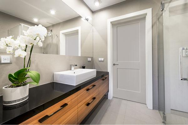 Gray painted bathroom door