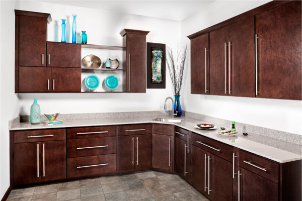 dark brown wolf cabinets with modern cabinet doors and modern cabinet hardware