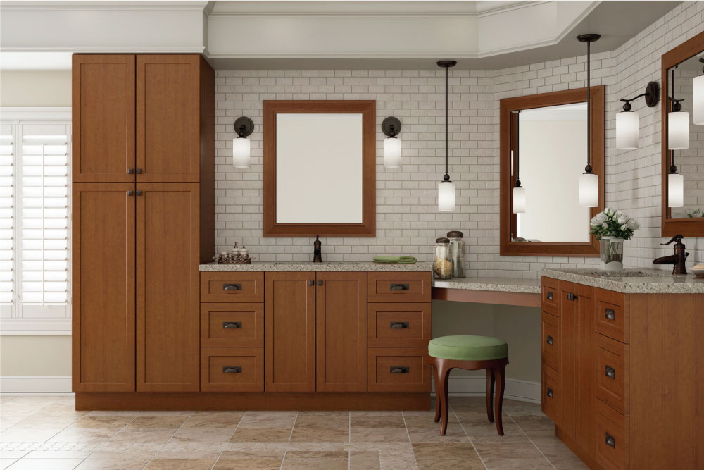 wood shaker cabinets with subway tile wall