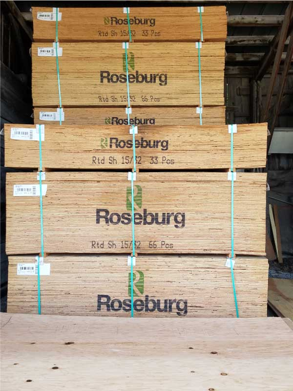 Plywood for framing houses and building subfloors and building walls or wall panels