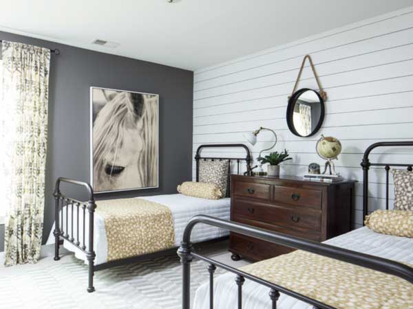 bedroom with shiplap