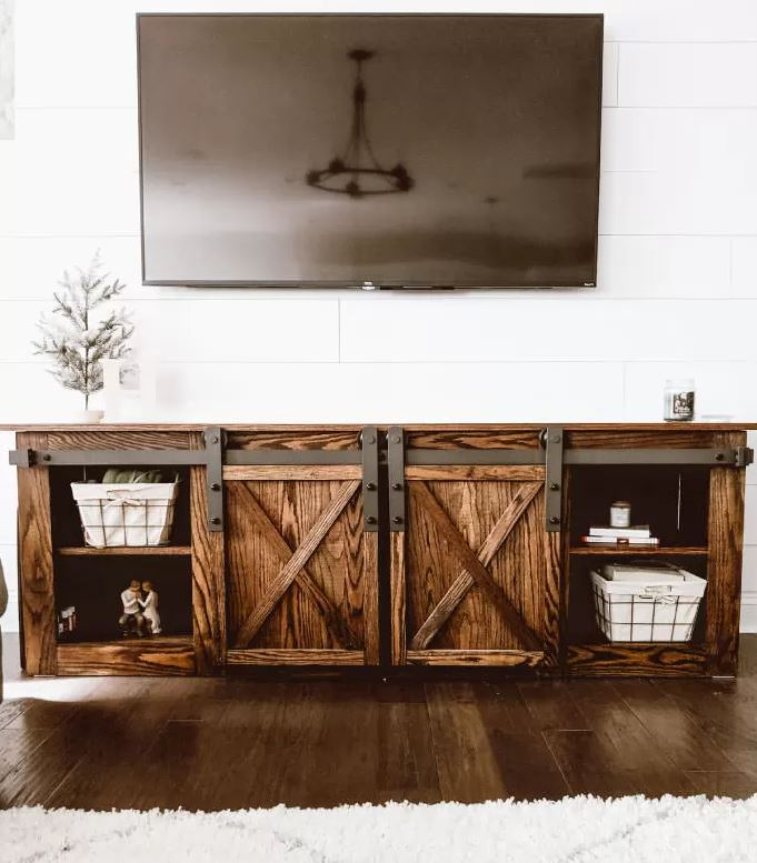 Click on the image for a tutorial on how you too can build this farmhouse TV stand. Then stop into Genesee Lumber for the materials you need to get the job done!