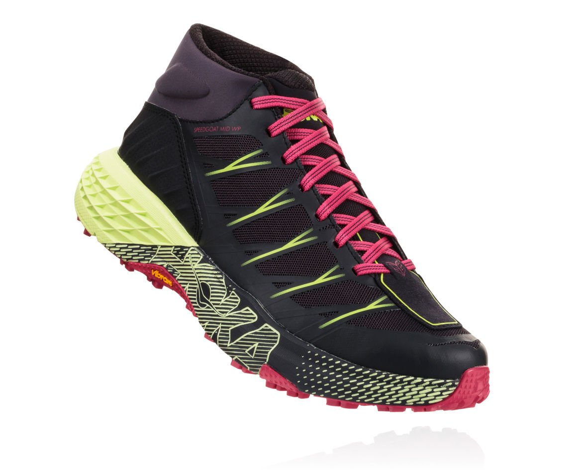 "Hoka One One Speedgoat Mid Waterproof - This mid-cut fast hiker is a hybrid of the Speedgoat 2, designed to attack all manner of technical trail and embodies Karl Meltzer's ""go everywhere, run everything"" attitude."