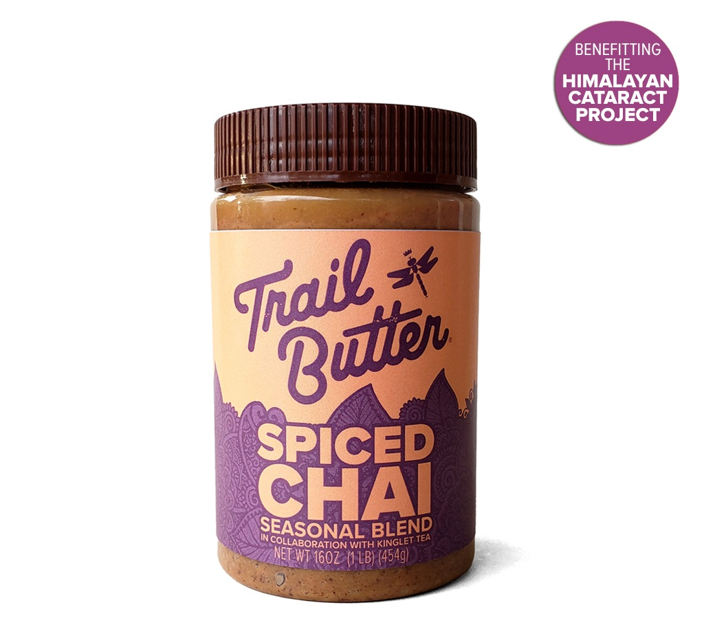 Trail Butter Holiday Spiced Chai Nut Butter - In the spirit of the Holidays and giving back, Trail Butter is proud to support the work of the Himalayan Cataract Project and their efforts to end needless blindness.Nutrition/Hydration