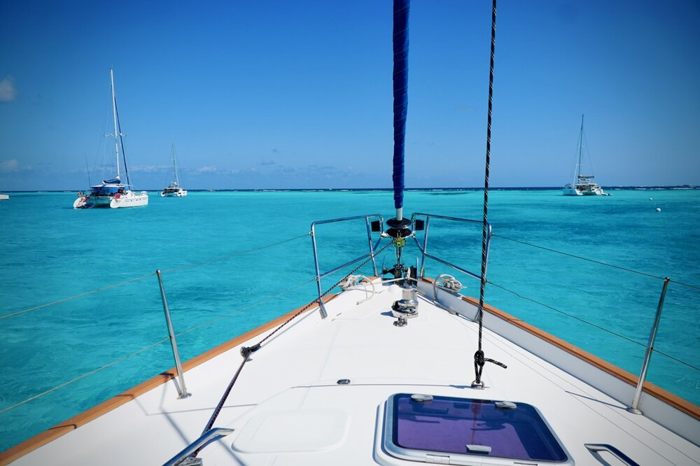 sailboat bow in Caribbean
