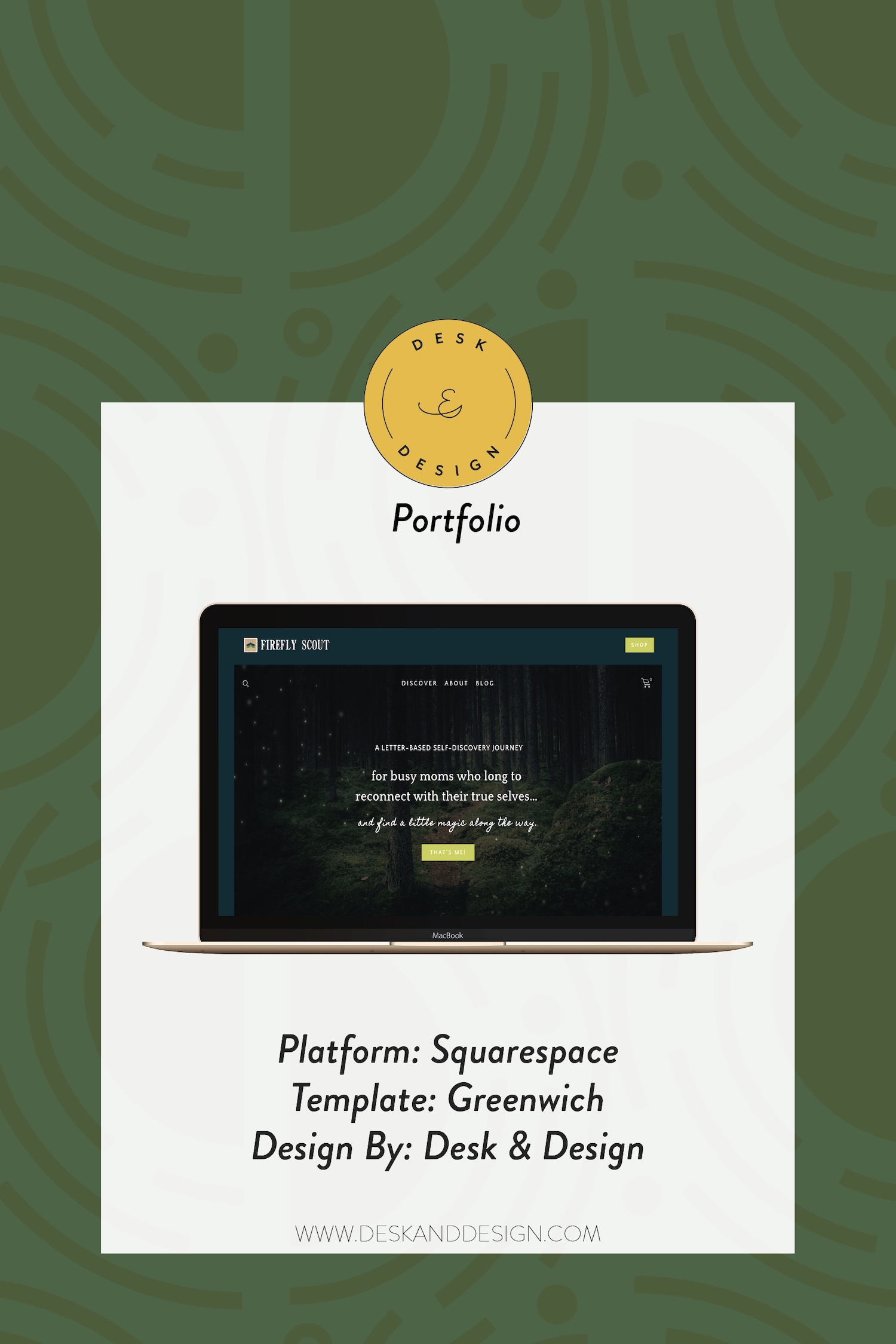 Squarespace Website Design by Desk & Design for Firefly Scout. Greenwich Template