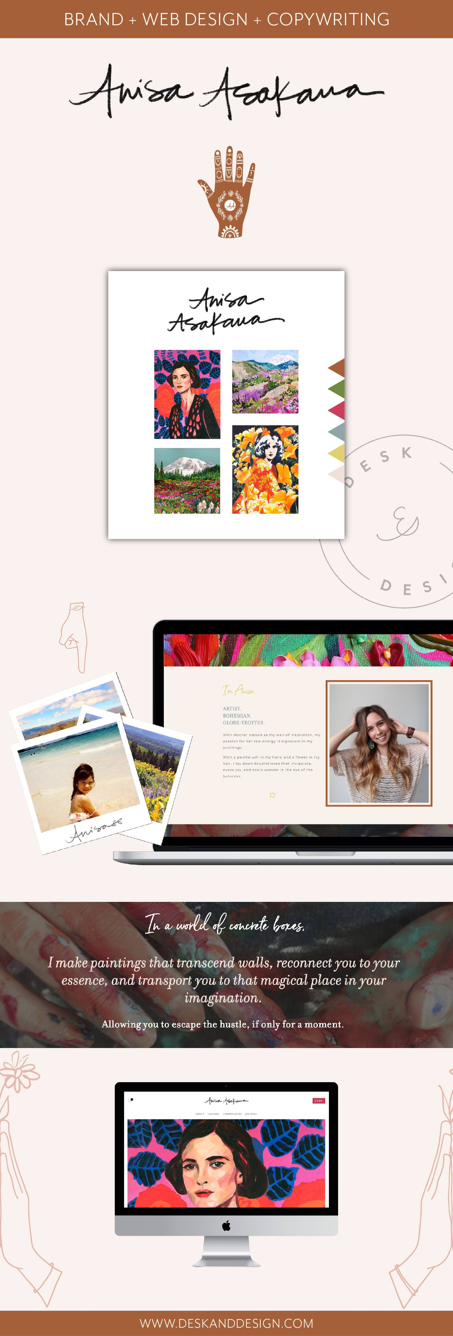 Squarespace web design, branding, and copy for fine artists by Desk and Design.